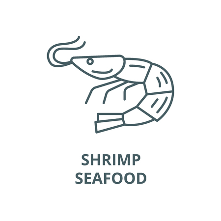 Shrimp,seafood vector line icon, outline concept, linear sign