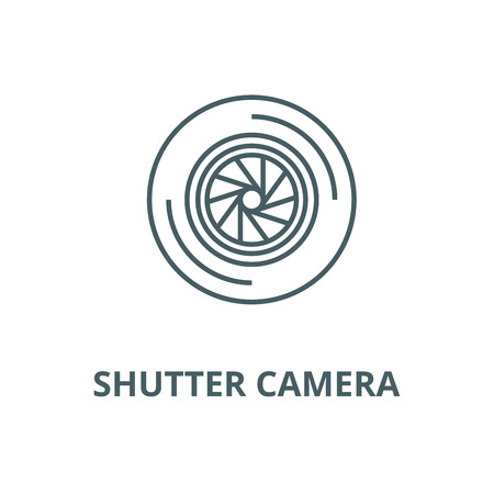 Shutter camera  vector line icon, outline concept, linear sign
