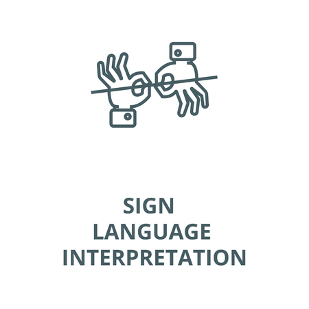 Sign language interpretation vector line icon, outline concept, linear sign Stockfoto - 122348695