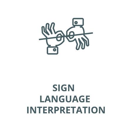 Sign language interpretation vector line icon, outline concept, linear sign Stock Illustratie