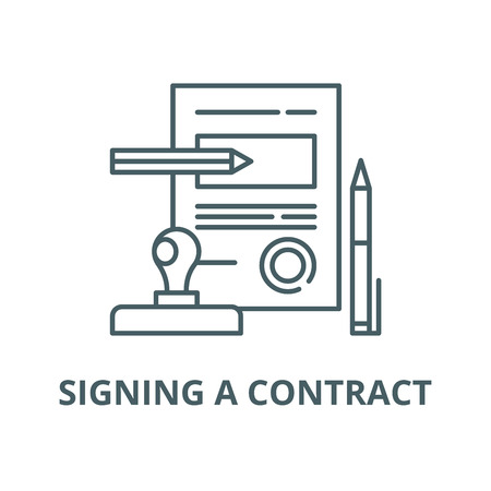 Signing a contract vector line icon, outline concept, linear sign Иллюстрация