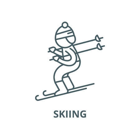 Skiing vector line icon, outline concept, linear sign