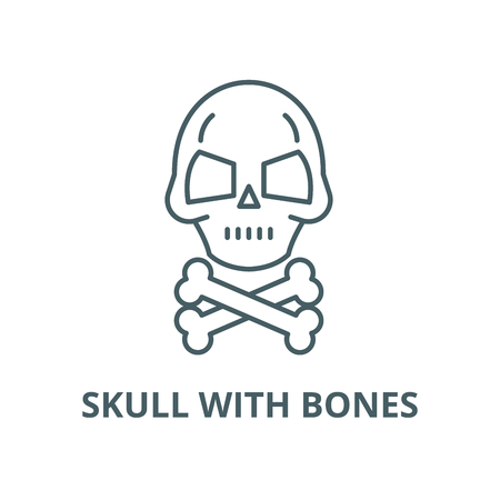 Skull with bones vector line icon, outline concept, linear sign