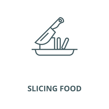 Slicing food vector line icon, outline concept, linear sign
