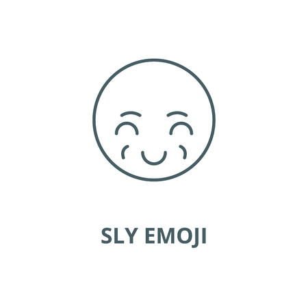 Sly emoji vector line icon, outline concept, linear sign