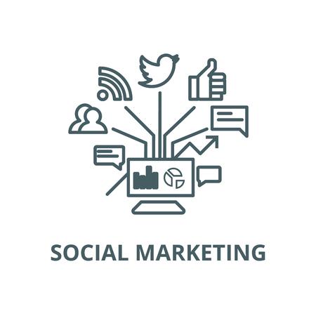 Social marketing vector line icon, outline concept, linear sign