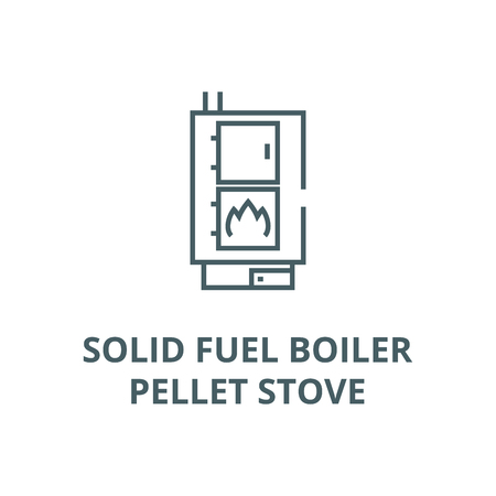 Solid fuel boiler,pellet stove vector line icon, outline concept, linear sign