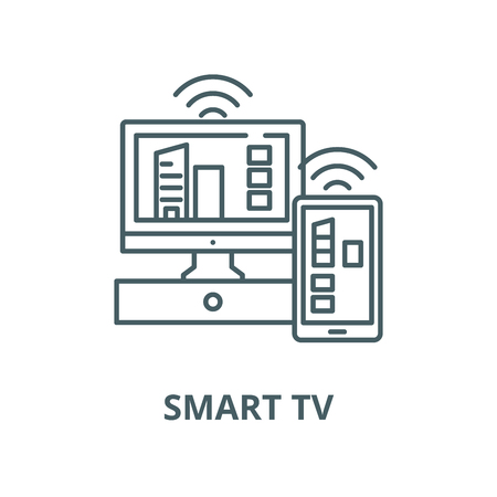 Smart tv vector line icon, outline concept, linear sign