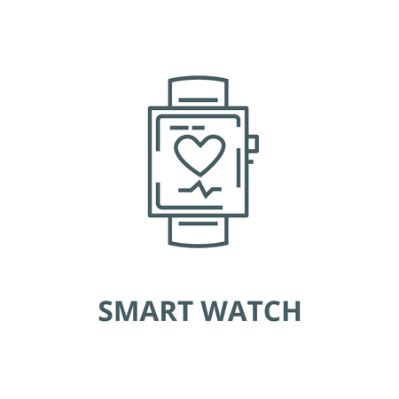 Smart watch  vector line icon, outline concept, linear sign Illustration