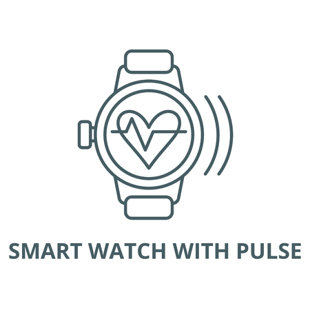 Smart watch with pulse vector line icon, outline concept, linear sign Banque d'images - 122348768