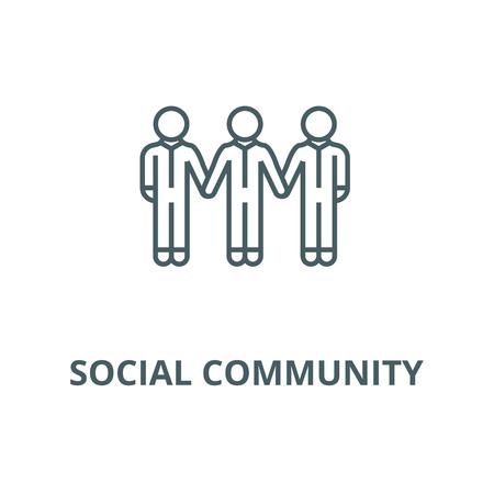 Social community,bonds vector line icon, outline concept, linear sign Illustration