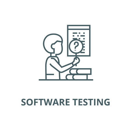 Software testing vector line icon, outline concept, linear sign