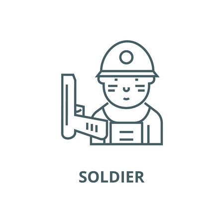 Soldier vector line icon, outline concept, linear sign