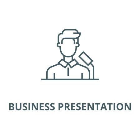 Speaker,business presentation vector line icon, outline concept, linear sign