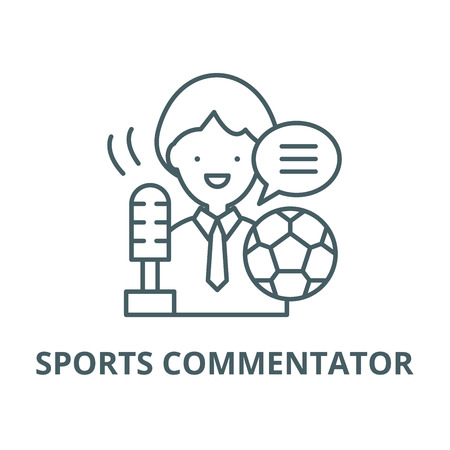 Sports commentator vector line icon, outline concept, linear sign
