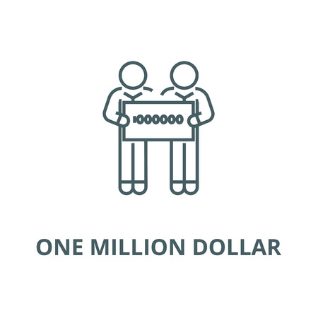 People holding large check of one million dollar vector line icon, outline concept, linear sign Illustration