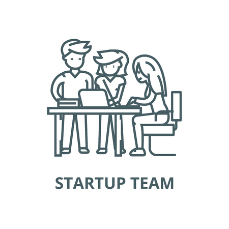 Startup office team,man and women  vector line icon, outline concept, linear sign