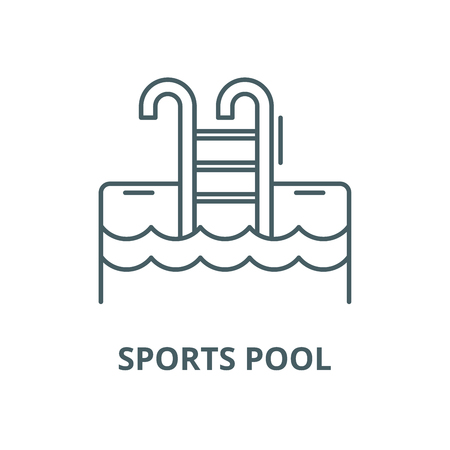 Sports pool vector line icon, outline concept, linear sign