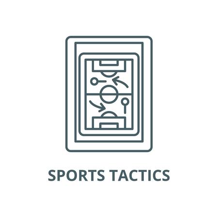 Sporttaktik-Vektor-Liniensymbol, Umrisskonzept, lineares Zeichen