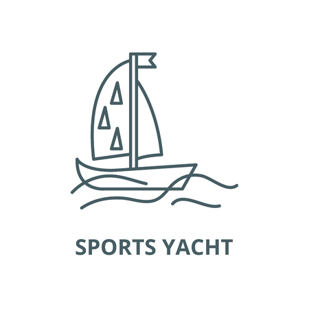 Sports yacht vector line icon, outline concept, linear sign Illustration