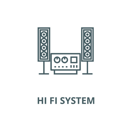 Stereo, sound, hi fi system vector line icon, outline concept, linear sign