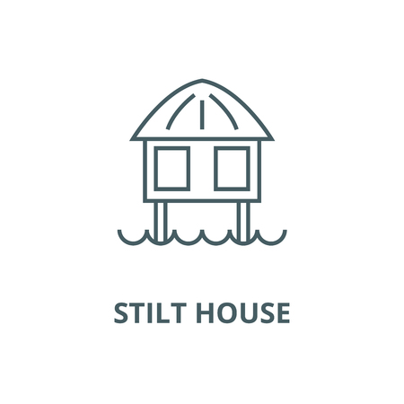 Stilt house vector line icon, outline concept, linear sign