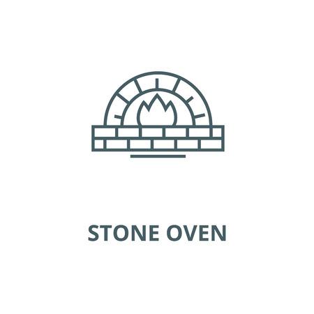 Steinofenvektorliniensymbol, Umrisskonzept, lineares Zeichen