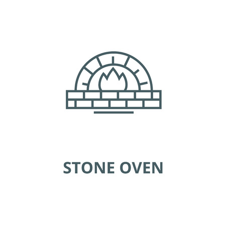 Stone oven vector line icon, outline concept, linear sign 矢量图像