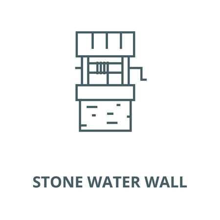 Stone water wall vector line icon, outline concept, linear sign