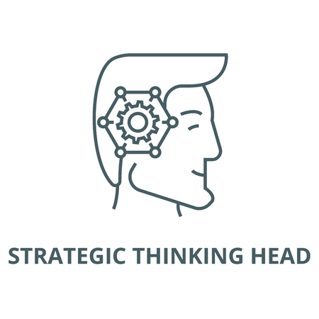 Strategic thinking head vector line icon, outline concept, linear sign