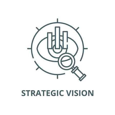 Strategic vision vector line icon, outline concept, linear sign