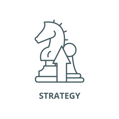 Strategy vector line icon, outline concept, linear sign Illustration