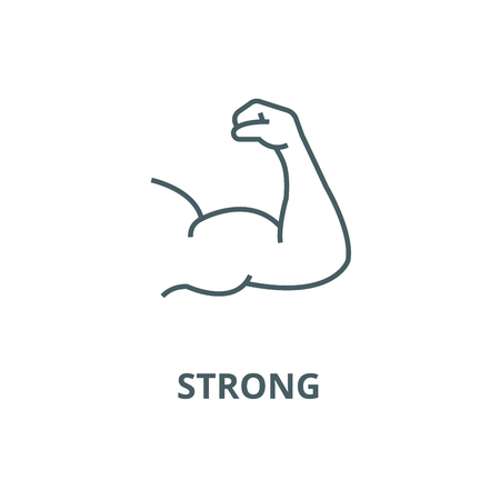 Strong arm, bodybuilding  vector line icon, outline concept, linear sign