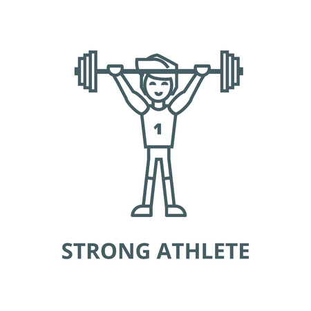 Strong athlete with weights  vector line icon, outline concept, linear sign