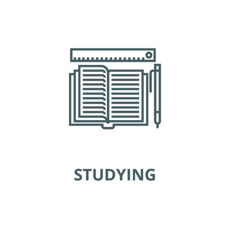 Studying,open book, pen, ruler vector line icon, outline concept, linear sign