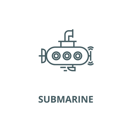 Submarine vector line icon, outline concept, linear sign