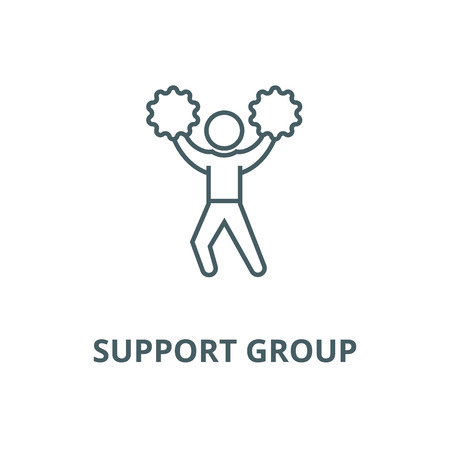 Support group vector line icon, outline concept, linear sign