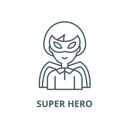 Super hero vector line icon, outline concept, linear sign Illustration
