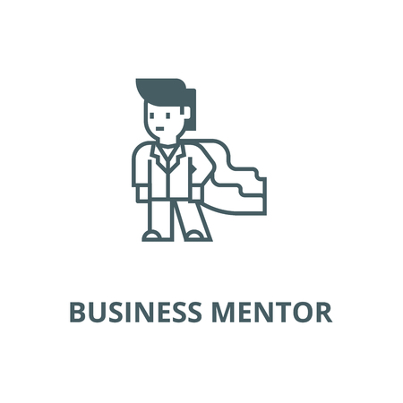 Super hero,businessman,business mentor vector line icon, outline concept, linear sign