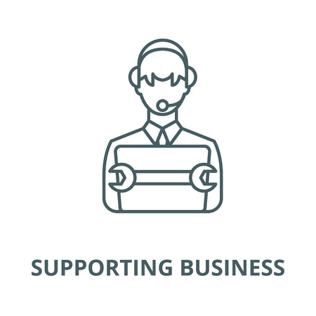 Supporting business vector line icon, outline concept, linear sign