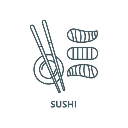 L'icône de la ligne du vecteur de sushi, concept de contour, signe linéaire