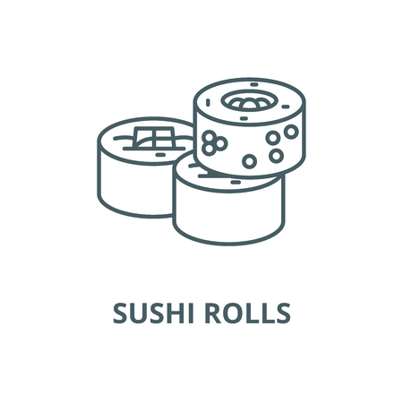 Sushi rolls vector line icon, outline concept, linear sign