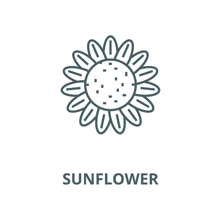 Sunflower vector line icon, outline concept, linear sign