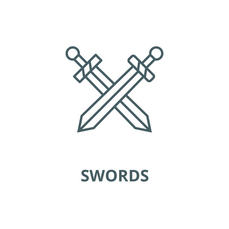 Swords vector line icon, outline concept, linear sign