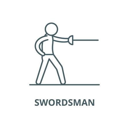 Swordsman vector line icon, outline concept, linear sign