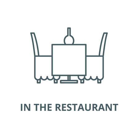 Table and chairs in the restaurant vector line icon, outline concept, linear sign