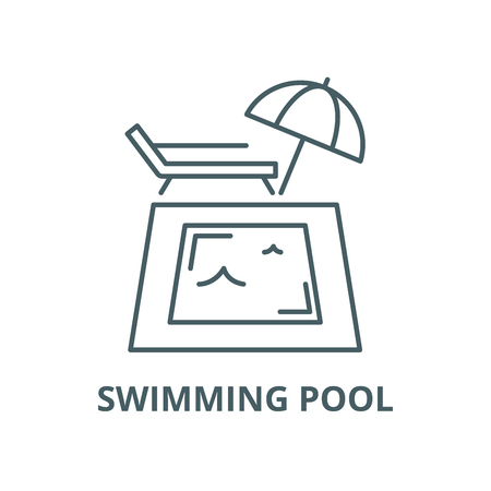 Swimming pool vector line icon, outline concept, linear sign