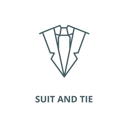 Suit and tie vector line icon, outline concept, linear sign