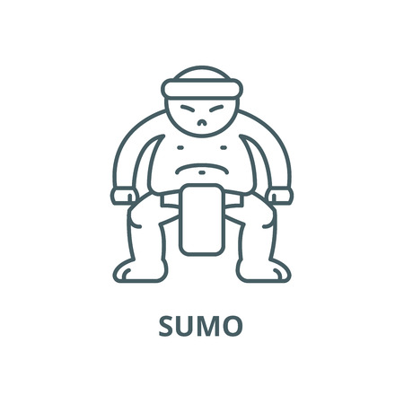 Sumo vector line icon, outline concept, linear sign Banque d'images - 122349259