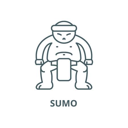 Sumo vector line icon, outline concept, linear sign Archivio Fotografico - 122349259